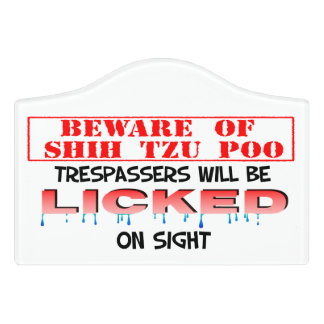 """""""Beware of Shih Tzu Poo"""" Small Room Sign (White) Door Sign"""