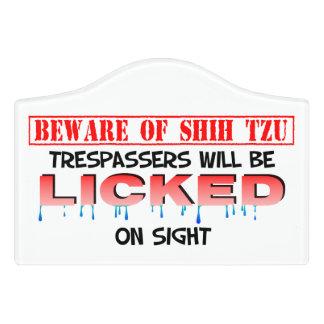 """""""Beware of Shih Tzu"""" Small Room Sign (White) Door Sign"""