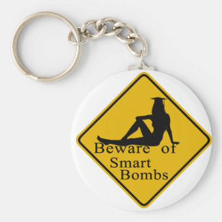 Beware of smart bombs basic round button key ring