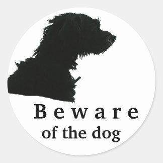 Beware of the dog classic round sticker