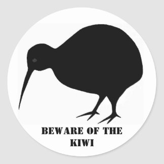 Beware of the Kiwi Classic Round Sticker