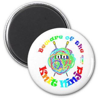 Beware of the Knit Ninja 6 Cm Round Magnet