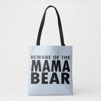 Beware of the Mama Bear Tote Bag (blue)