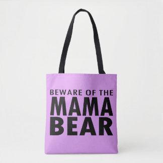 Beware of the Mama Bear Tote Bag (purple)