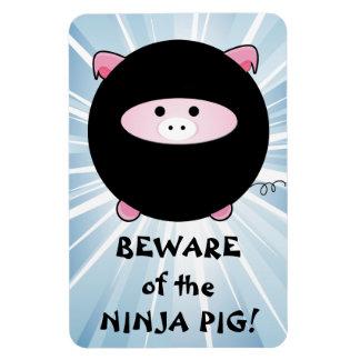 Beware of the Ninja Pig on Blue Vinyl Magnet
