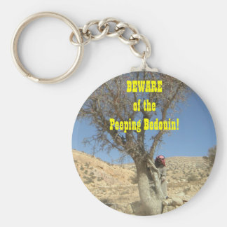 Beware of the Peeping Bedouin! Basic Round Button Key Ring