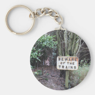 Beware of the Trains! - Range Basic Round Button Key Ring