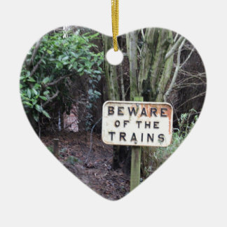 Beware of the Trains! - Range Ceramic Heart Decoration