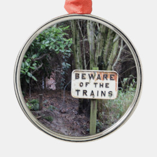 Beware of the Trains! - Range Silver-Colored Round Decoration