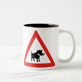 Beware of Warthogs, Traffic Sign, South Africa Two-Tone Mug
