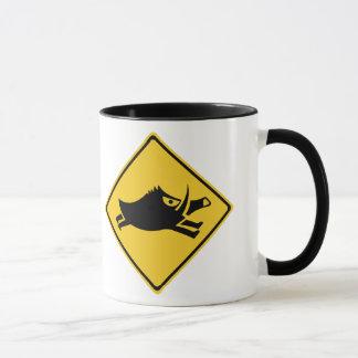 Beware of Wild Boars, Traffic Sign, Japan Mug