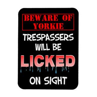 """""""Beware of Yorkie"""" Magnet (Black)"""