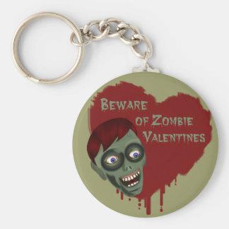 Beware of Zombie Valentines Keychain