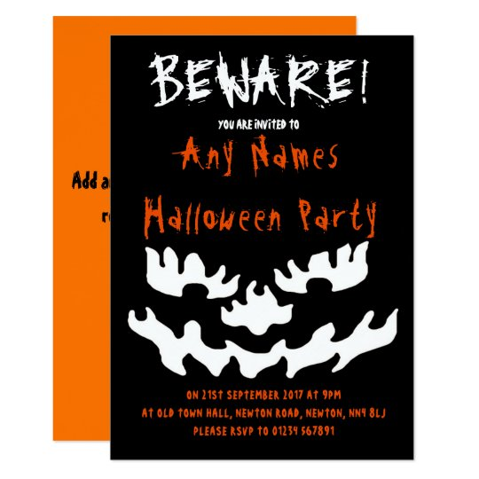 Beware Personalised Halloween Party Invitations