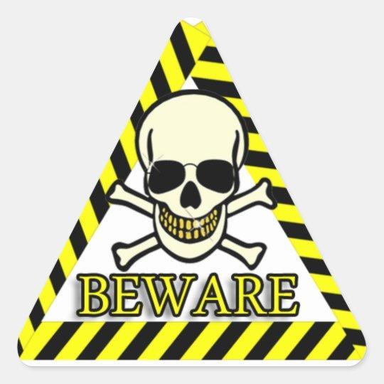 Beware Smiling Skull With Sunglasses Triangle Sticker