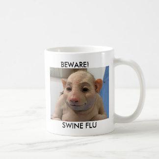 BEWARE!, SWINE FLU BASIC WHITE MUG
