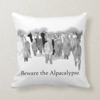 Beware The Alpacalypse - Funny Nerd Humor Pun Throw Pillow