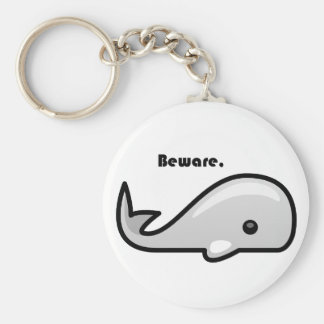Beware the White Whale Cartoon Basic Round Button Key Ring