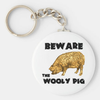 Beware the Wooly Pig Basic Round Button Key Ring