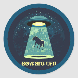 Beware UFO Classic Round Sticker