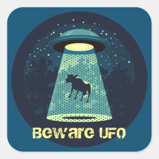 Beware UFO Square Sticker