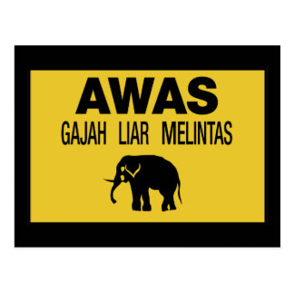 Beware Wild Elephant, Traffic Sign, Malaysia Postcard