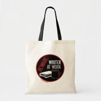 Beware: Writer at Work Tote Bags
