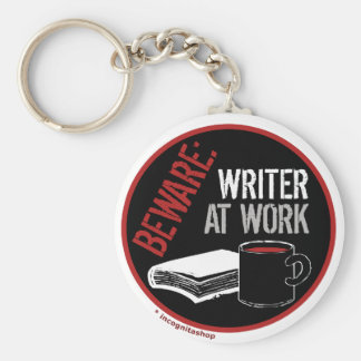 Beware: Writer at Work Basic Round Button Key Ring