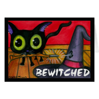 Bewitched Black Kitten Cat Greeting Card