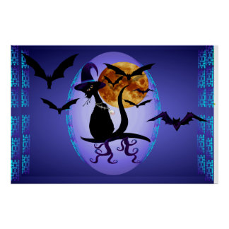 Bewitching Black Kitty Oval Poster