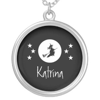 Bewitching Halloween Necklace, Black Silver Plated Necklace
