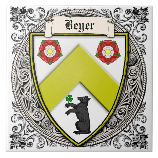 Beyer (Switzerland/Saxony) family arms Tile