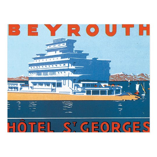 Beyrouth St. Georges Vintage Travel Poster Postcard