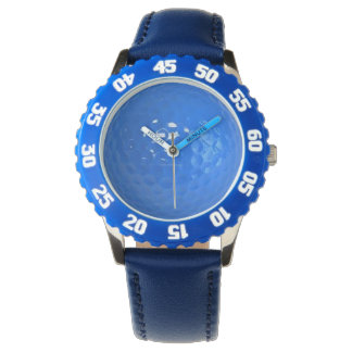 Bezel Watch with Blue Golf ball Dimples