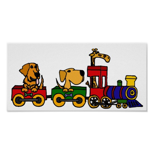 BF- Funny Dogs on a Train Cartoon Poster