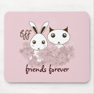 BFF - Best Friends Forever Cute Animal Girl Pink Mouse Pad