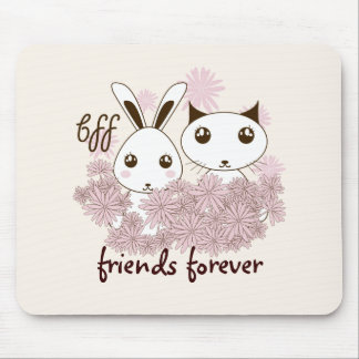 BFF - Best Friends Forever Cute Animal Kids Ivory Mouse Pad