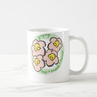 BFF Best Friends Forever Pink Flowers Coffee Mug
