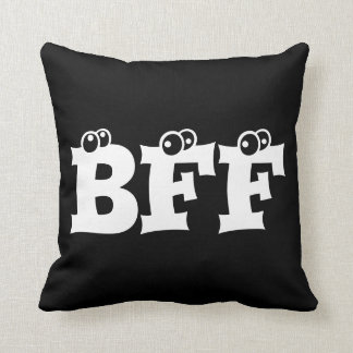BFF Best Friends Forever Typography Black White Cushion