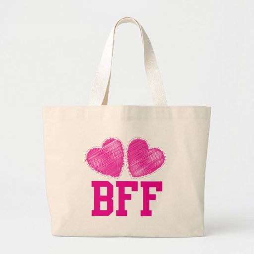 BFF Best Friends forever with love hearts Tote Bags