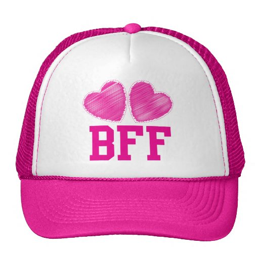 BFF Best Friends forever with love hearts Trucker Hat