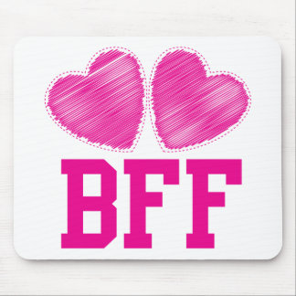 BFF Best Friends forever with love hearts Mouse Pad