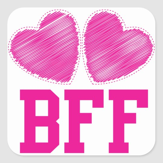 BFF Best Friends forever with love hearts Square