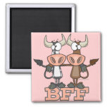 BFF cow best friends forever buddies Square Magnet