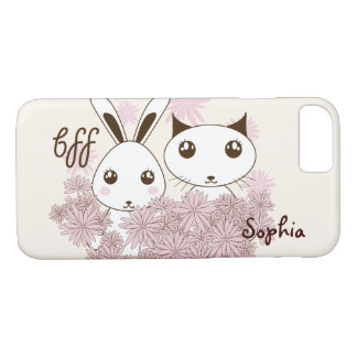 BFF - Cute Bunny and Kitten Design Personalized iPhone 7 Case