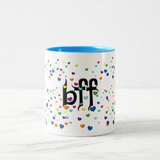 bff ~ hearts Two-Tone coffee mug