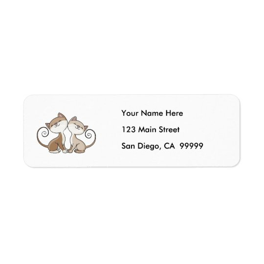 BFF Kitties with Curling Tails Return Address Label