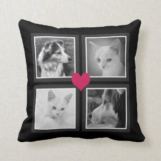BFFs Cute Heart with Four Instagram Photos Cushion