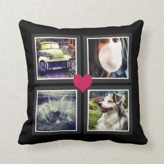 BFFs Cute Instagram Photo Collage with Heart Cushion