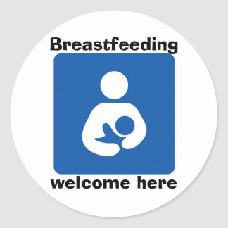 bficon-med, Breastfeeding, welcome here Classic Round Sticker
